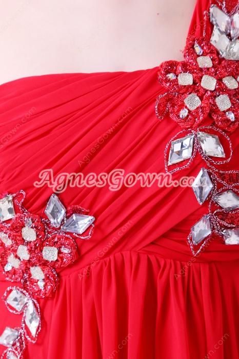 Form-fitting Asymmetrical Straps A-line Red Chiffon College Graduation Dress