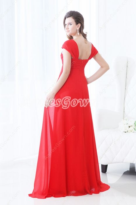 Exquisite Double Straps A-line Red Chiffon Plus Size Prom Dress