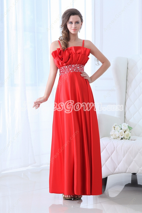 Modest Spaghetti Straps Ankle Length Red Junior Prom Dress