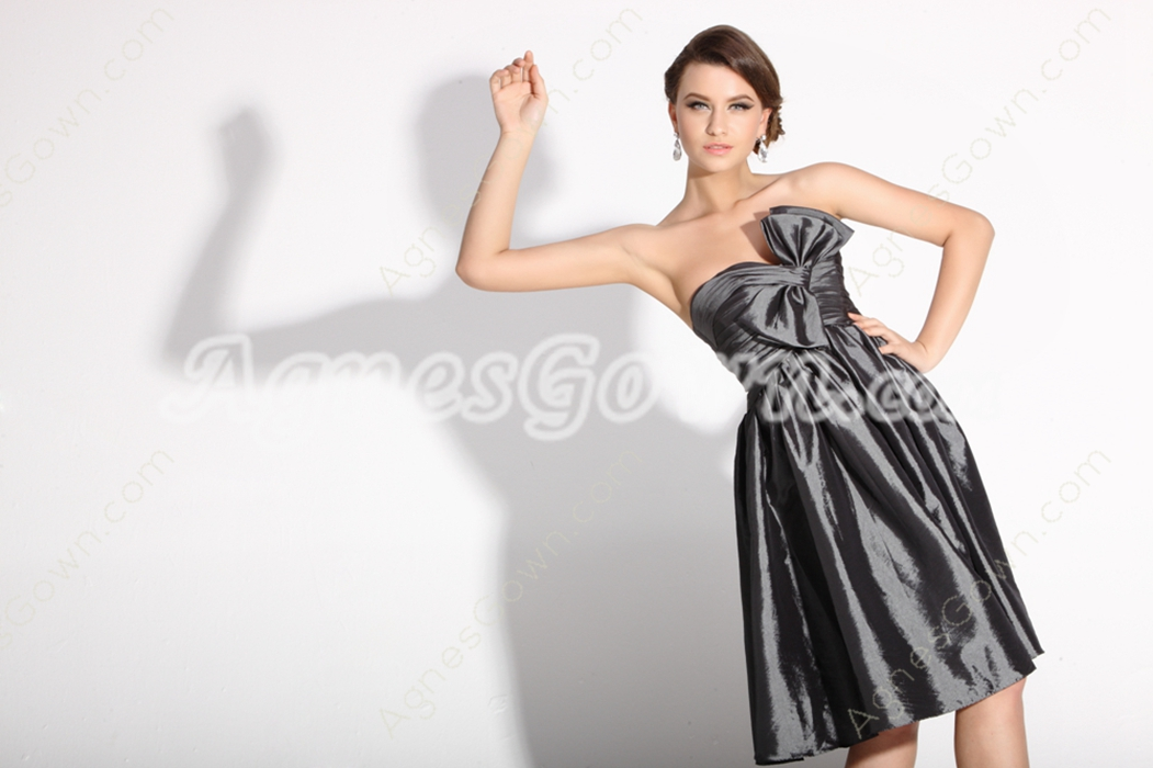 Extraordinary Knee Length Silver Grey Junior Prom Dress