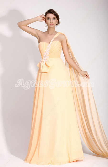 Exquisite One Shoulder Long Length Pale Yellow Evening Gown