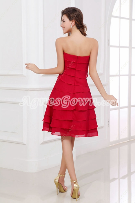 Stunning Strapless Knee Length Red Wedding Guest Dress
