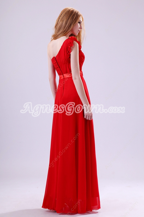 One Shoulder A-line Red Chiffon Bridesmaid Dress