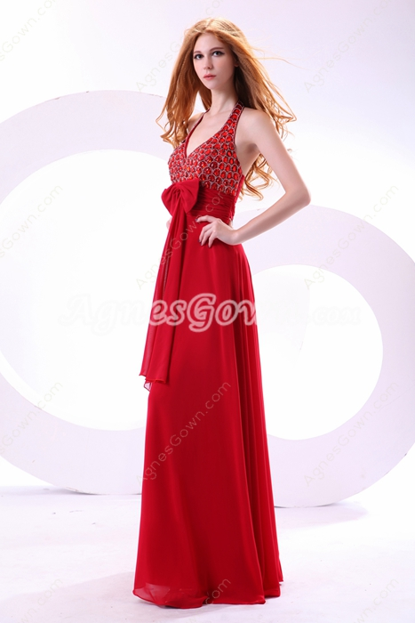 Fashionable Top Halter A-line Red Chiffon Evening Dress With Rhinestones