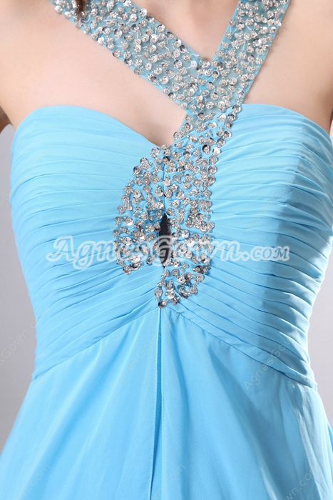 Unique Straps Long Blue Prom Dress Front Keyhole Bust