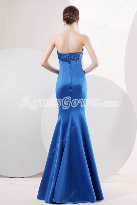 Fitted Strapless Full Length Trumpet/Mermaid Royal Blue Prom Dress