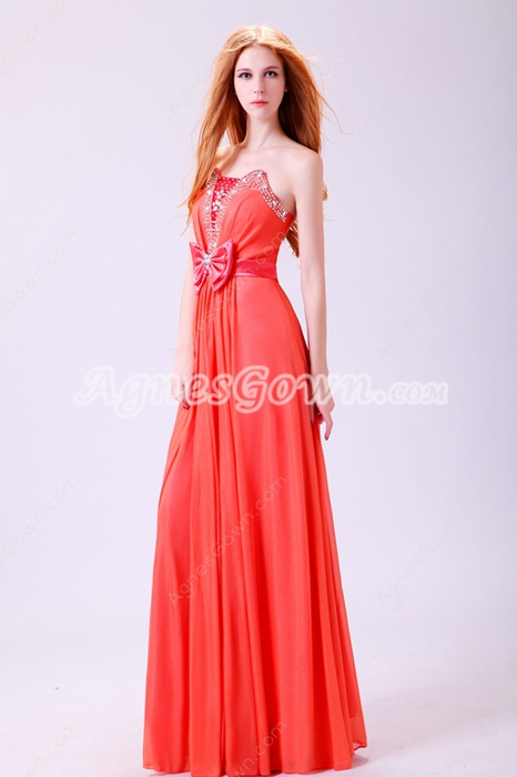 Pretty Column Full Length Orange Chiffon High School Graduation Dress