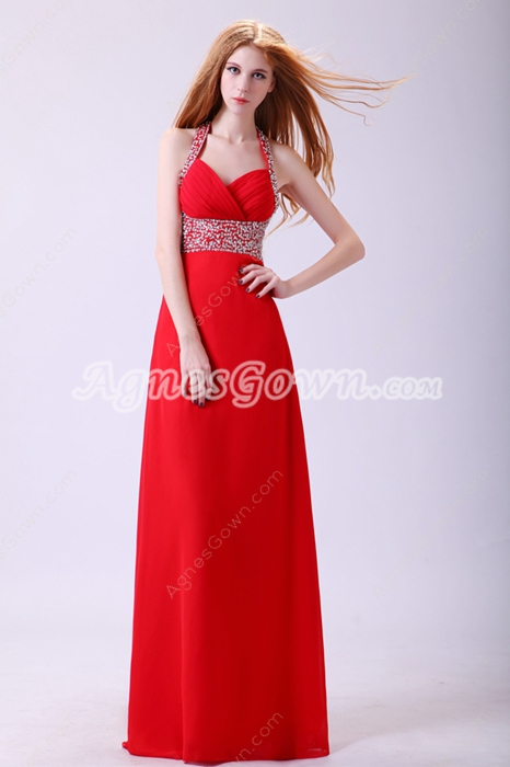Shimmering Halter A-line Red Chiffon Long Homecoming Dress