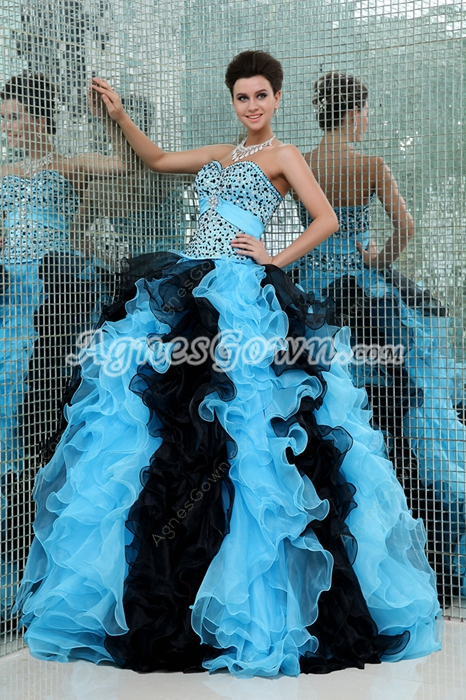 Colorful Sweetheart Ball Gown Organza Blue & Black Sweet 15 Dress