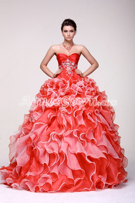 Perfect Cherry Red & White Ruffle Long Quinceanera Ball Gown Dress
