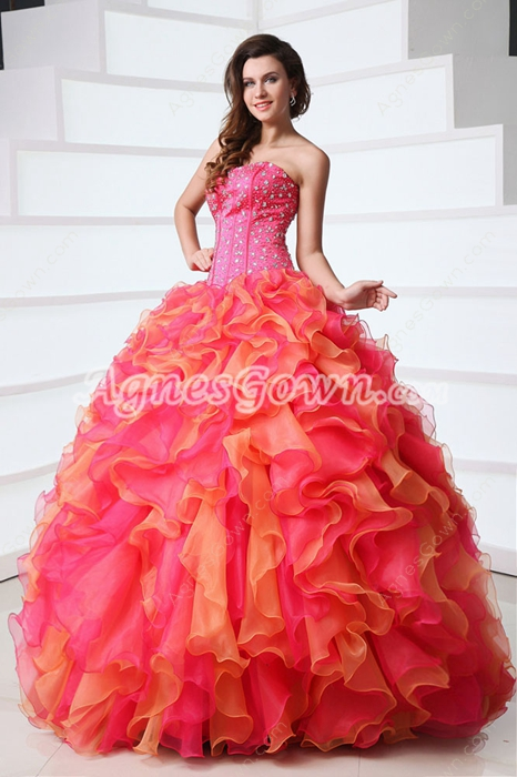 Exclusive Strapless Ball Gown Colorful Fuchsia & Orange Quinceanera Dress