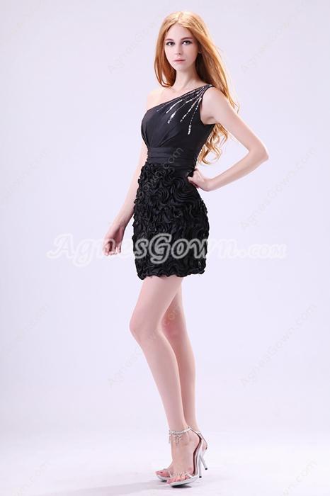 Modern One Shoulder Mini Length Little Black Cocktail Dress