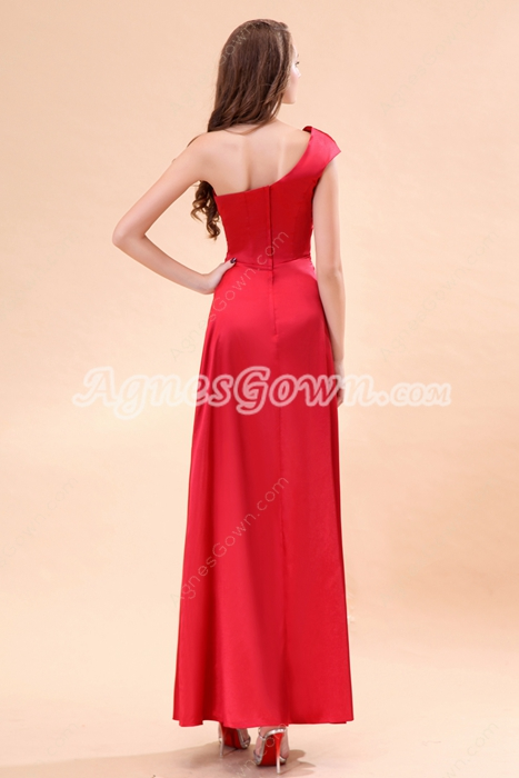One Shoulder Ankle Length Red Prom Party Dress With Beads