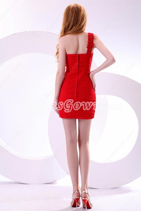 Sexy One Straps Sheath Mini Length Red Nightclub Dress