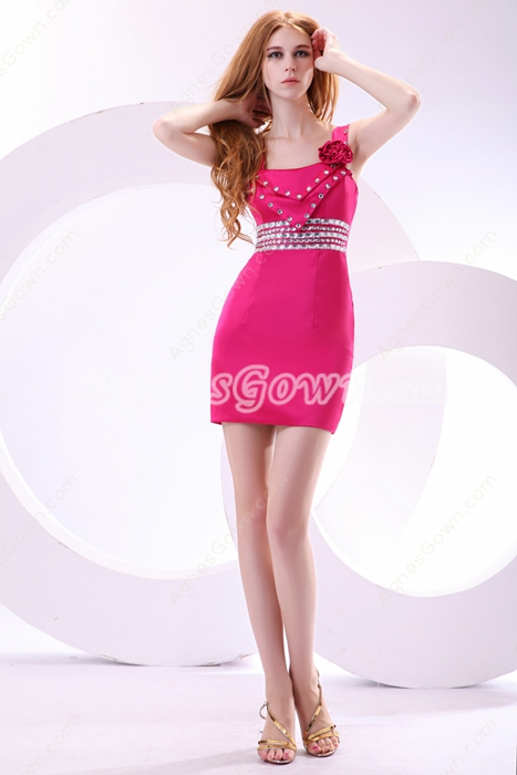 Modern Sheath Mini Length Fuchsia Cocktail Dress