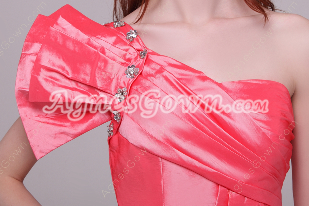 Modern One Shoulder Sheath Mini Length Watermelon Graduation Dress