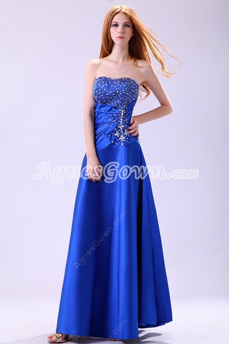 Stylish Sweetheart Royal Blue Satin Prom Dress With Great Handwork