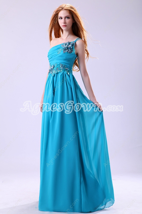 Dramatic One Shoulder Column Full Length Blue Prom Dress