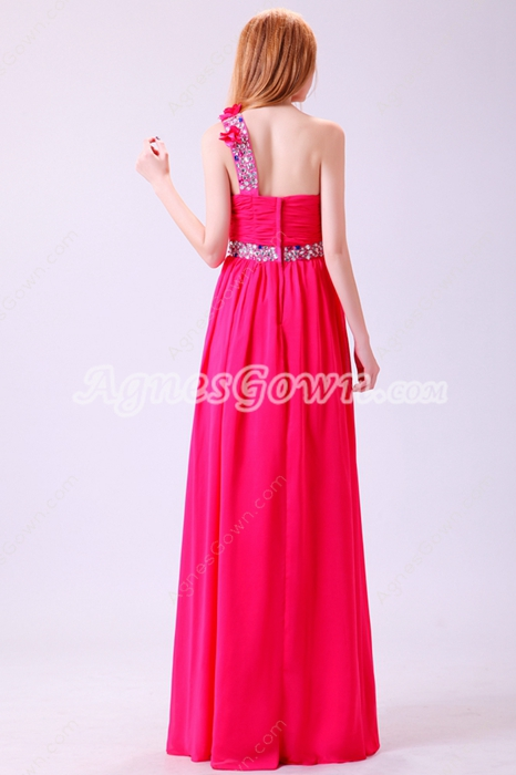 Dazzling Single Straps A-line Fuchsia Prom Dress With Handmade Flowers