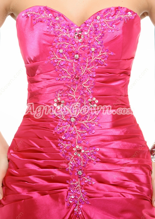 A-line Satin Fuchsia Long Prom Party Dress