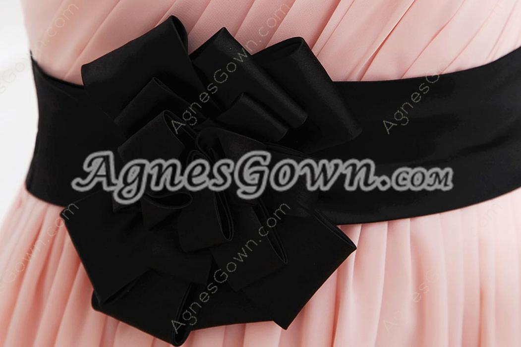 Adorable One Shoulder Column Pink Prom Dress With Black Sash