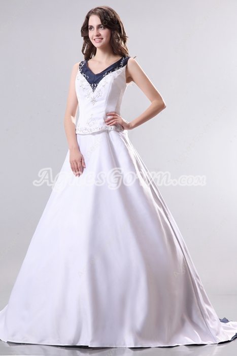 Magnificent White & Dark Navy Plus Size Wedding Dress Embroidery