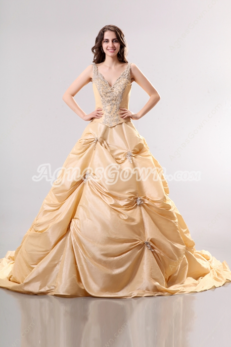Luxurious V-Neckline Taffeta Champagne Mature Wedding Dress
