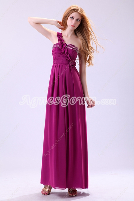 Delicate One Straps Ankle Length Fuchsia Prom Dress With Ruffles