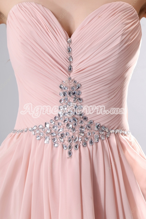 Wonderful Column Full Length Pink Bridesmaid Dress With Stones