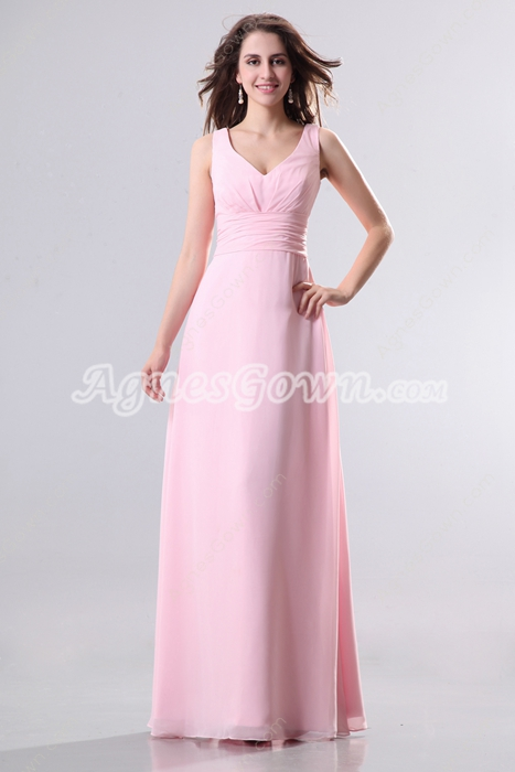 Charming V-Neckline Column Full Length Pink Chiffon Bridesmaid Dress