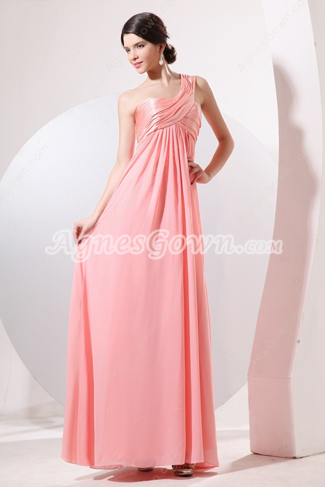 Beautiful One Shoulder Empire Full Length Peach Chiffon Maternity Bridesmaid Dress