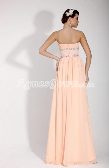 Pretty Strapless Column Coral Prom Dress