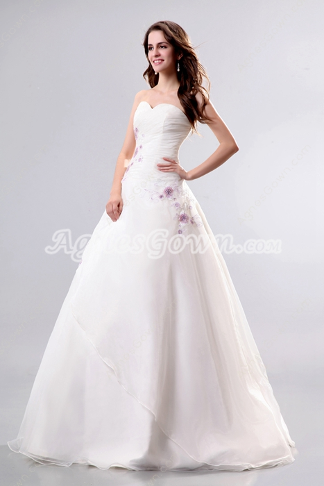 Modesty Organza Ball Gown Wedding Dress With Appliques