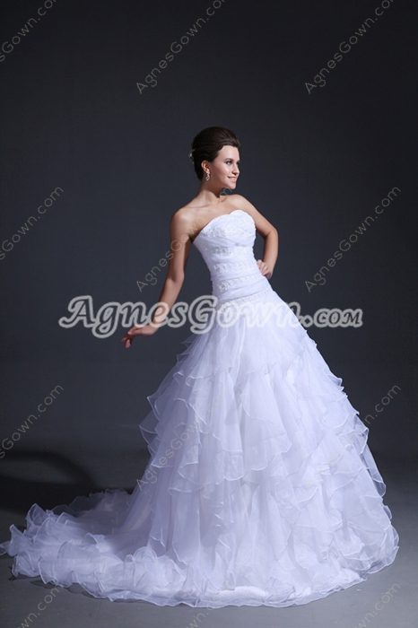 Dazzling White Organza Puffy Wedding Dress With Multi Layered