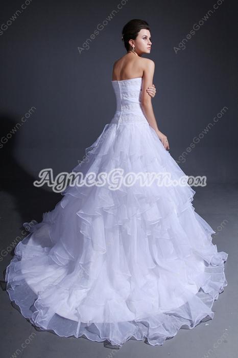 Dazzling White Organza Puffy Wedding Dress With Multi Layered