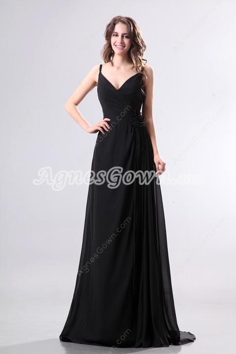 Glamourous V-Neckline Full Length Black Chiffon Evening Dress
