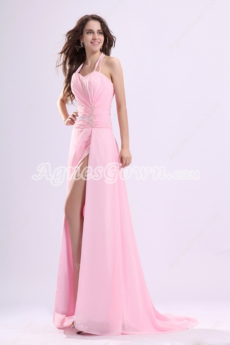 Sexy Halter A-line Pink Chiffon High Slit Evening Dress