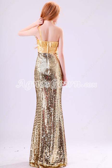 Glamour One Straps Sheath Floor Length Gold Sparkled Evening Dress