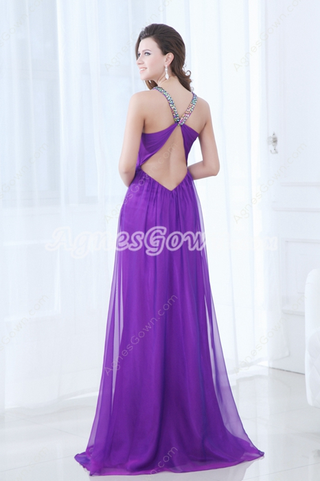 Sexy Crossed Straps Back Purple Chiffon Prom Dress