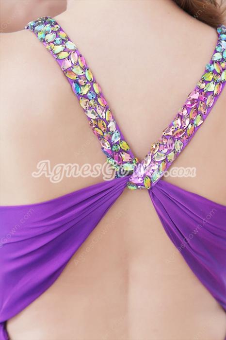 Sexy Crossed Straps Back Purple Chiffon Prom Dress