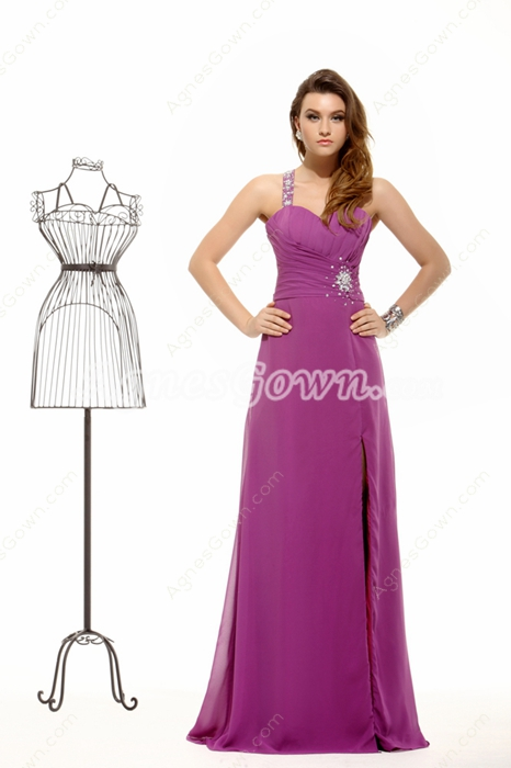 Stunning Column One Shoulder Plum Graduation Dress For College