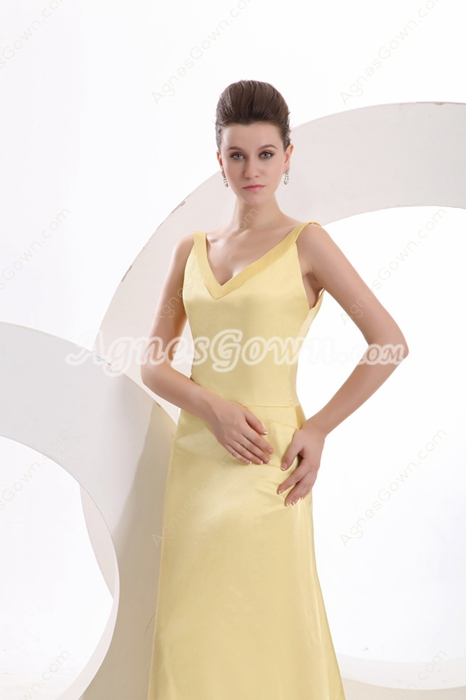Chic V-Neckline Backless Yellow Evening Gown