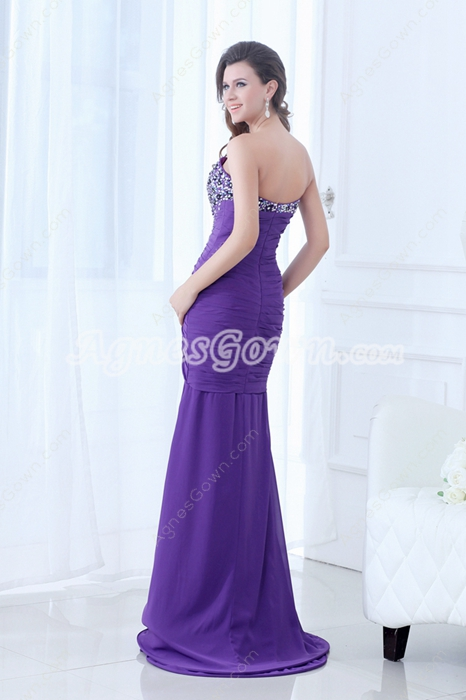 Qualified Sheath Full Length Purple Chiffon Prom Dress With Beads & Sequins
