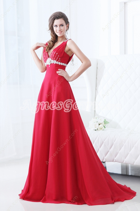 Plunge Neckline A-line Red Chiffon Sexy Prom Dress With Beads