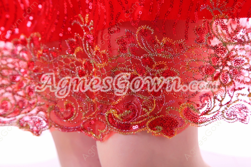 Chic Strapless A-line Mini Length Red Sweet Sixteen Dress With Feather