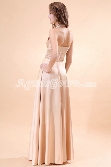 Top Halter Column Full Length Champagne Prom Dress With Rhinestones