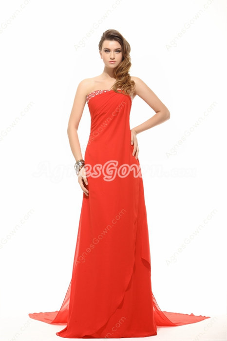 Casual Red Carpet Evening Dress With Ribbons