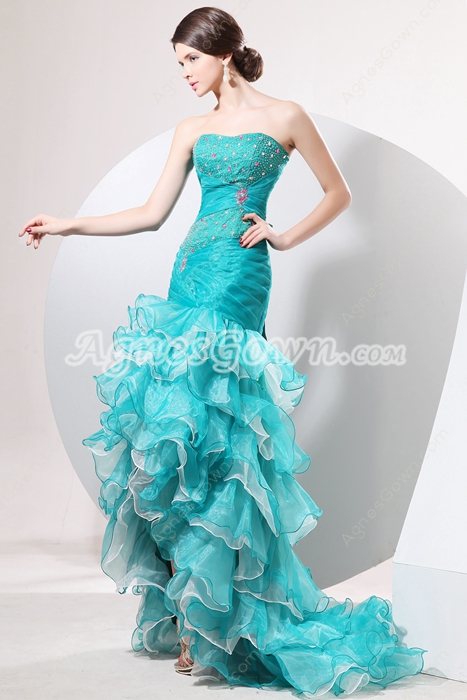 Stylish Dipped Neckline Jade & White Colorful Organza Sweet Sixteen Dress