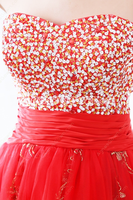 Cute Shallow Sweetheart Puffy Knee Length Sweet Sixteen Dress With Beads & Sequins