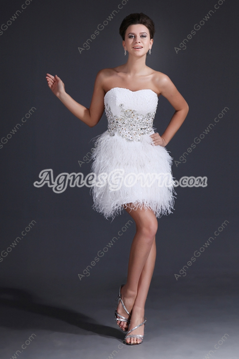 Sparkled Short Puffy White Sweet Sixteen Dress With Tassel